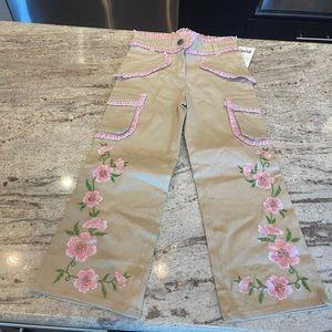 Girls size 5 floral print khaki pants